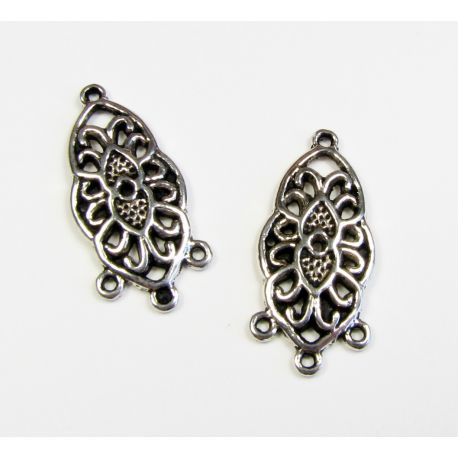 Distributor aged silver color 4 loops 25x12 mm