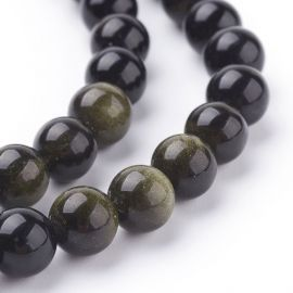 Natural obsidian beads 8 mm., 1 strand