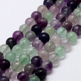 Natural fluorspar beads 7-8 mm., 1 strand