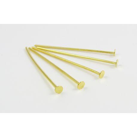 Tihvtid ehete valmistamiseks kuld 40 mm lameda peaga