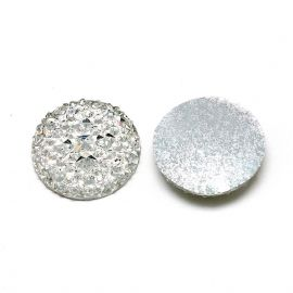 Acrylic cabochon, white transparent color 25 mm., 1 pcs.