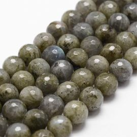 Natural labradorite beads, gray with blue sheen, 9-10 mm, 1 strand
