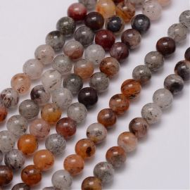 Natural lodolite quartz beads 8 mm., 1 strand