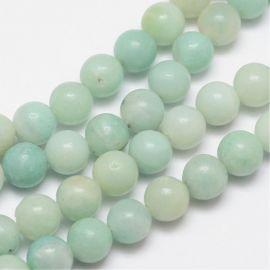 Natural amazonite beads, greenish 8-9 mm, 1 strand