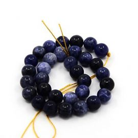 Dabīgas sodalīta pērles 10 mm., 1 vītne