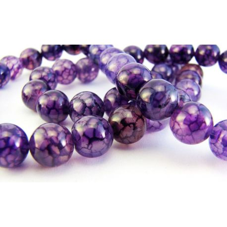 Agato karoliukai violetines spalvos apvalios formos 8mm