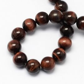 Natural beads of the red tiger eye 8 mm., 1 strand