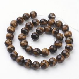 Natural beads of the tiger eye 10 mm., 1 strand