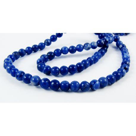 Sodalīta akmens pērles tumši zilas 4 mm