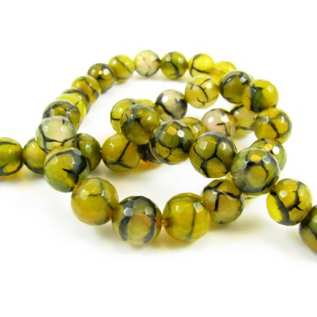 Agate stone beads, yellow-black 8 mm