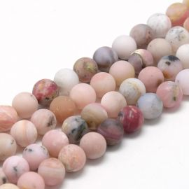 Natural pink opal beads 8 mm., 1 strand