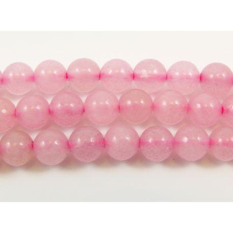 Rožinio kvarco karoliukai, skaidrūs, apvalūs, 6 mm