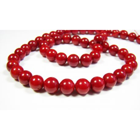 Coral beads, red, round 7 - 8 mm