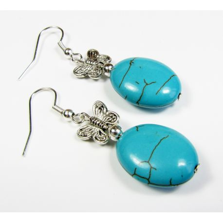 Synthetic turquoise earrings, silver, oval stone, 50 mm