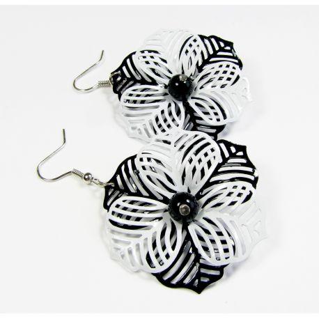 """Earrings """"Black&White"""". Black - White 60x40 mm"""