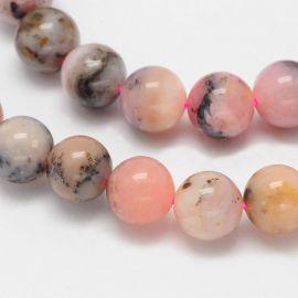 Natūralūs rausvojo opalo karoliukai 8 mm., 1 gija