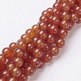 Karneolio karoliukai, rudai oranžinės spalvos 8 mm, 1 gija.
