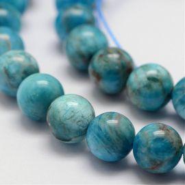 Natural apatite beads, bluish-blue 8 mm, 1 strand