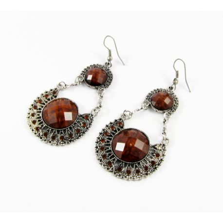 "Earrings ""Brown eye"", aged silver 55x35 mm"