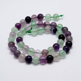 Natural fluorspar beads 10 mm., 1 strand