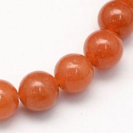 Natūralūs raudonojo avantiurino karoliukai, raudonai oranžinės spalvos 8,5 mm, 1 gija.