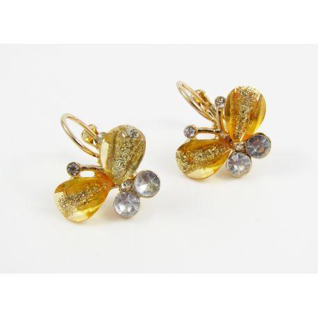 """Earrings """"Butterfly"""", yellow, 25x25 mm"""