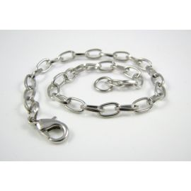 Chain - bracelet, dark silver color, 7x4.5 mm 20 cm long