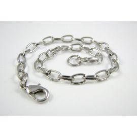 Chain - bracelet, dark silver color, 7x4.5 mm 20 cm long