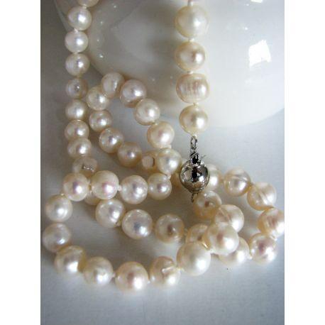 Gėlavandenių perlų vėrinys AAA klasės, baltos spalvos 8 mm