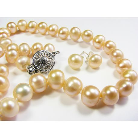 Kultivuotų AKOYA perlų vėrinys su auskarais 45 cm