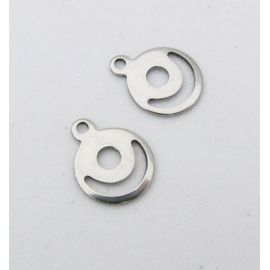 Stainless steel pendant 13x10 mm, 1 pcs.