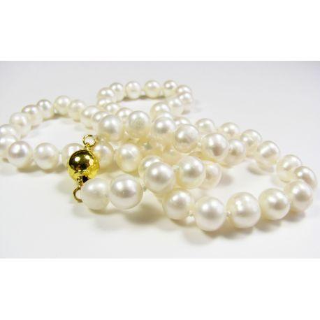 Gėlavandenių perlų vėriniys, baltos spalvos, perlų dydis 7-8 mm
