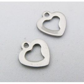 "Stainless steel pendant ""Heart"" 10x10 mm, 1 pcs."
